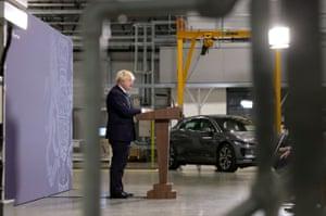 Boris Johnson delivering his levelling up speech