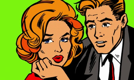 Woman and man in cartoon