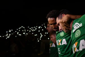 Players who did not travel on the fatal flight paid tribute to their teammates at the club's stadium in Chapecó.