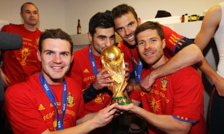 Juan Mata and his Spain team-mates celebrate winning the 2010 World Cup in the dressing room.
