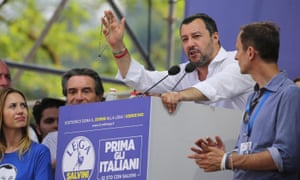 Matteo Salvini at the League's national rally in Pontida, Italy.
