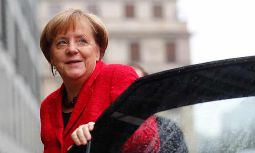 Angela Merkel stepping out of a car