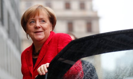 Angela Merkel stepping out of a car