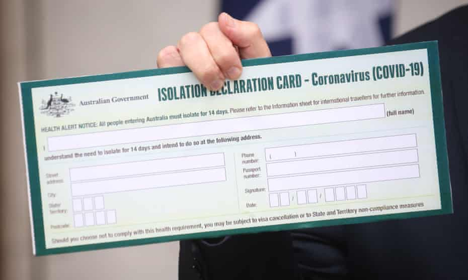 Isolation declaration card