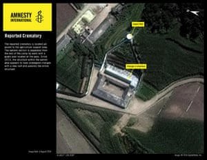 A reported crematorium at one of the camps is shown in the satellite images.