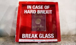A sign reading: 'in case of hard Brexit break glass'