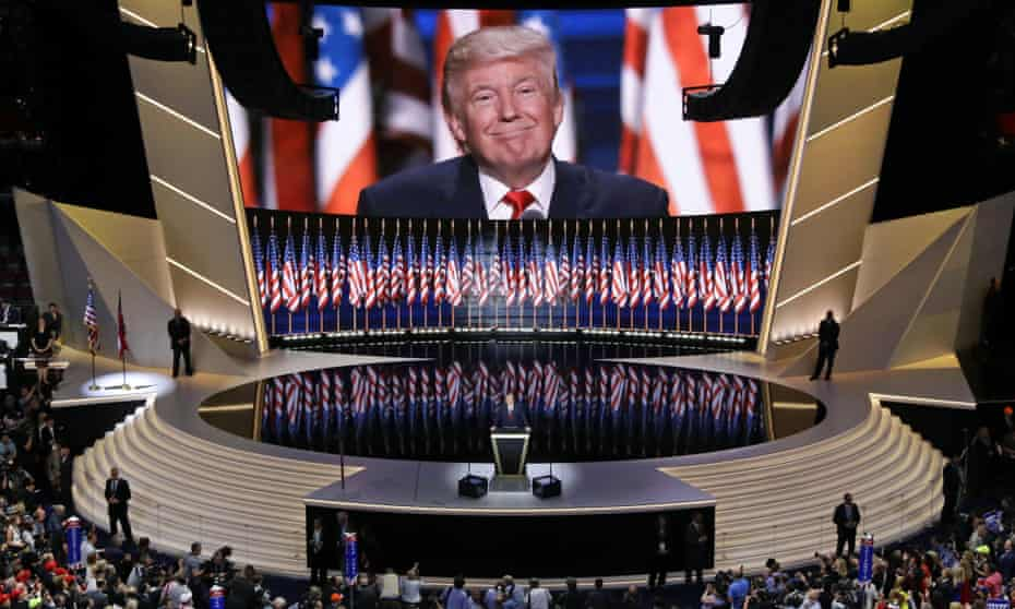 Donald Trump smiles as he addresses delegates during the Republican National Convention in Cleveland in 2016.