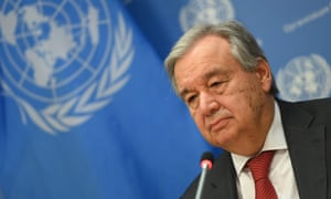 United Nations secretary general António Guterres  at a press briefing in New York in February.