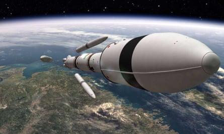 3D render of rocket in space