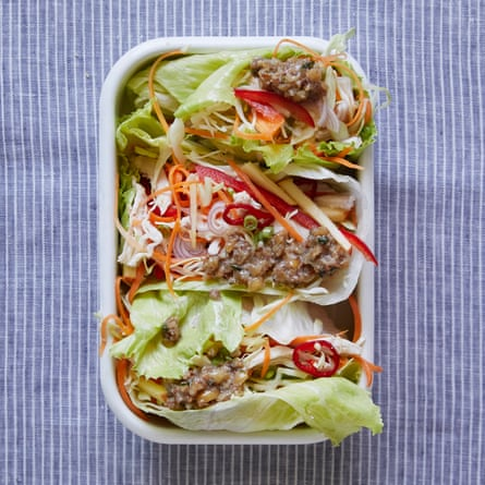 Jane Baxter's iceberg cups with chicken slaw and peanut dressing
