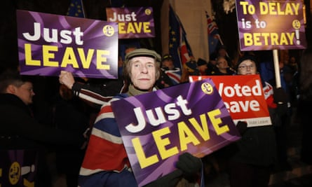"""Leave campaigners near parliament in London last month: 'Before the election of Donald Trump and the Brexit vote, """"globalists"""" dominated politics'"""