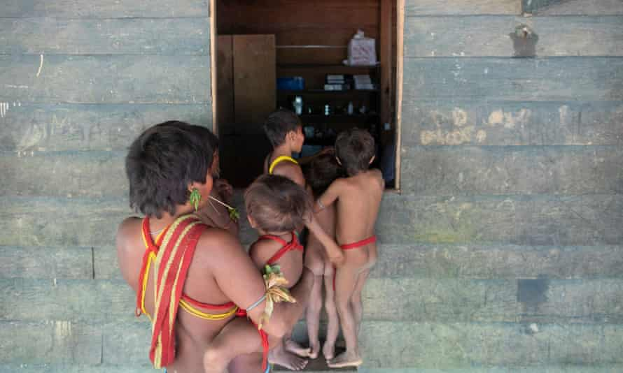 People in the Yanomami reserve in the Amazon, where four people have died from Covid-19.