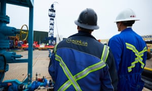 Cuadrilla workers at fracking site near Blackpool