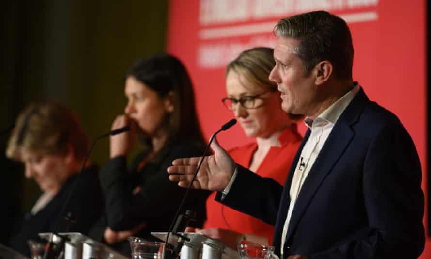 Emily Thornberry, Lisa Nandy, Rebecca Long-Bailey and Keir Starmer at a Labour leadership hustings in Cardiff