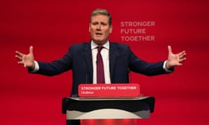 Labour party leader, Sir Keir Starmer, delivering his keynote speech at the Labour party conference in Brighton.