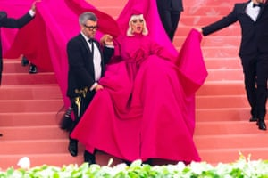Lady Gaga's first outfit … a hot pink dress and train