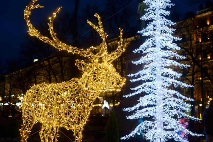 Lights fantastic: Christmas decorations in Helsinki, Finland.