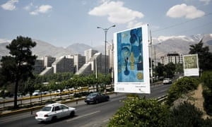 A billboard in Tehran displays Blue Window by Henri Matisse. More than 1,500 reproductions of art classics were displayed around the city.