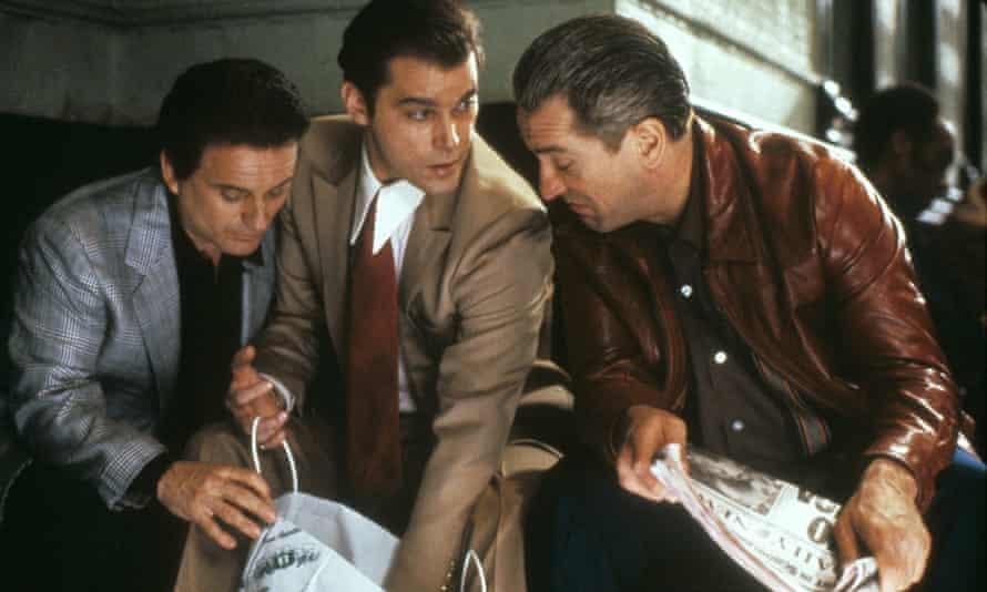 Liotta (centre) with Joe Pesci and Robert De Niro in Goodfellas.