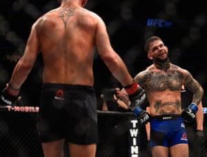 Cody Garbrandt taunts Dominick Cruz during their fight.