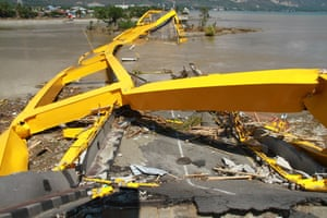 A view of a destroyed bridge following the earthquake and tsunami.