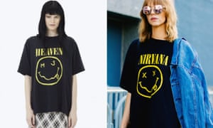 Marc Jacobs's Bootleg Grunge Tee (left) and the original Nirvana T-shirt (right)