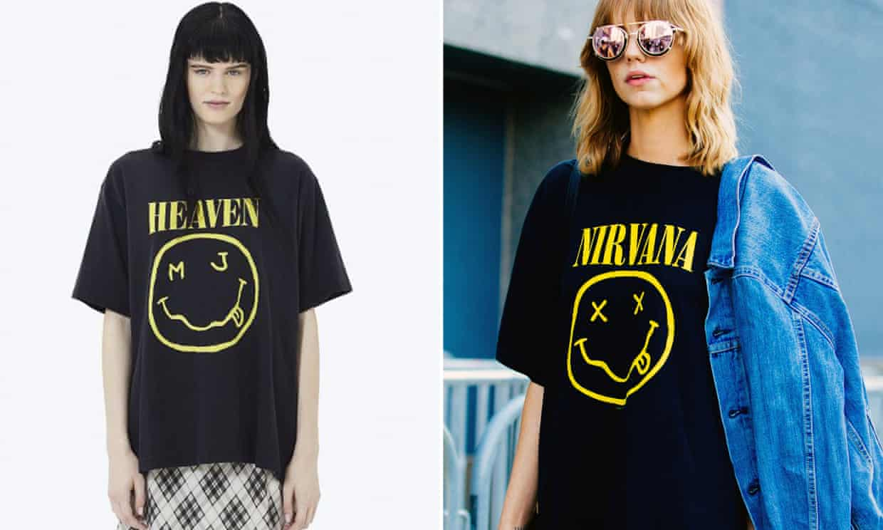 Left, the Marc Jacobs design, and right, the Nirvana original.