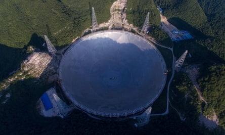 The Five-hundred-meter Aperture Spherical Telescope in China's Guizhou Province.
