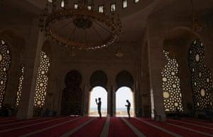 Worshippers pray at Al-Khaledi mosque during Ramadan