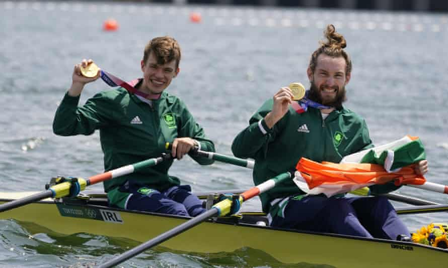 Fintan Mc Carthy and Paul O'Donovan of Ireland with their gold medal following the lightweight men's double sculls final