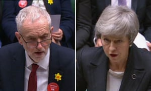 A composite of Jeremy Corbyn and Theresa May at prime minister's questions