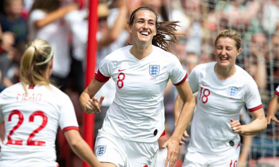 Jill Scott celebrates after scoring for England against Denmark in May 2019.