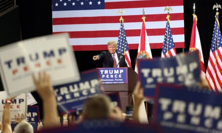 Donald Trump acknowledges supporters during a campaign rally in Kissimmee, Florida, on Thursday.