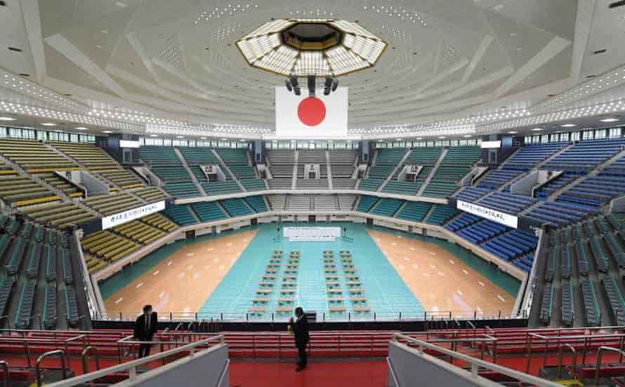 A view of the interior of the Nippon Budokan after its renovation.