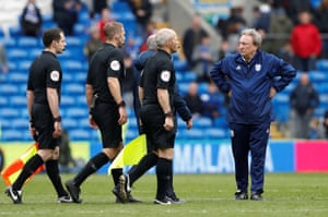 Warnock, not happy with referee Craig Pawson after the match.