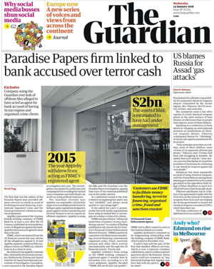 Guardian front page, Wednesday 24 January 2018