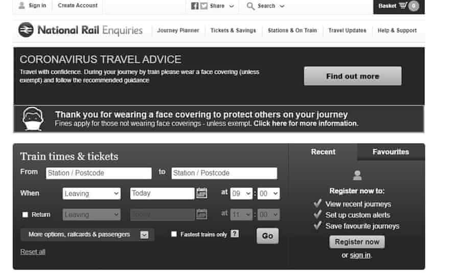 Screengrab of the National Rail website, which has been changed to black and white as a mark of respect after the Duke of Edinburgh's death