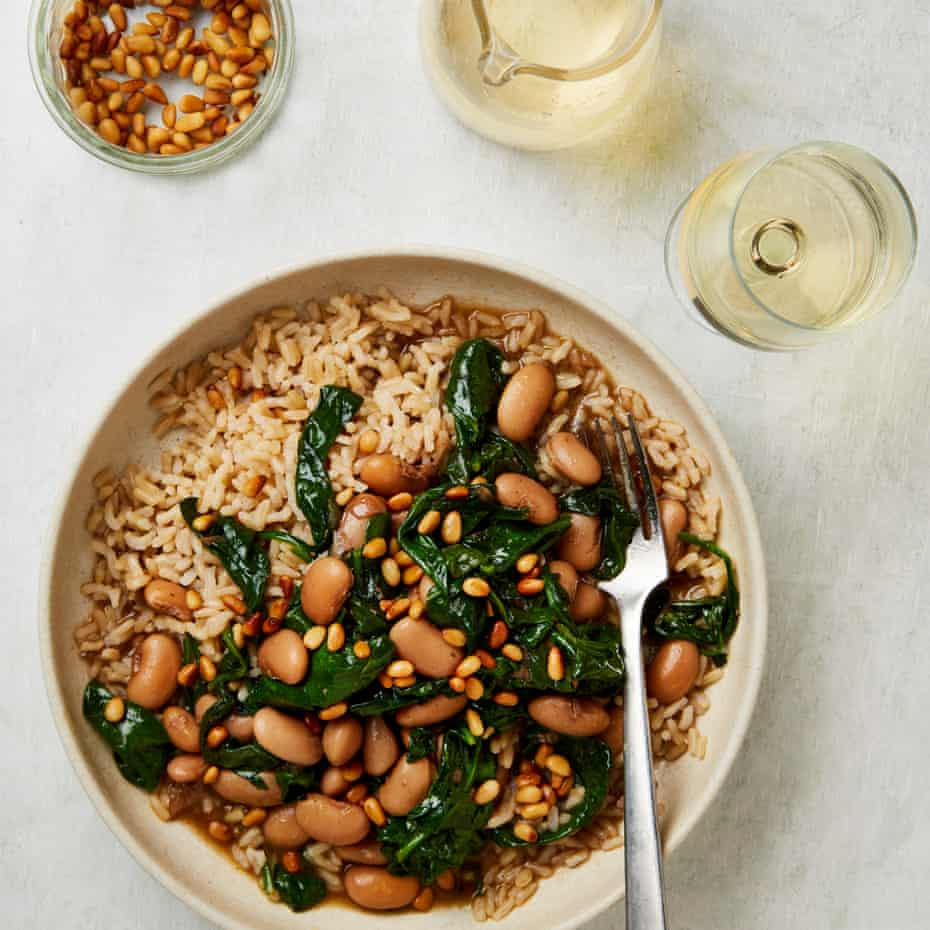 Meera Sodha's spinach and butterbean stew with toasted pine nuts