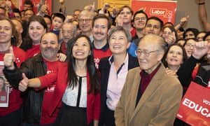 Labor candidate Jennifer Yang with Senator Penny Wong and her father Francis Wong at Yang's campaign launch for Chisholm in Melbourne