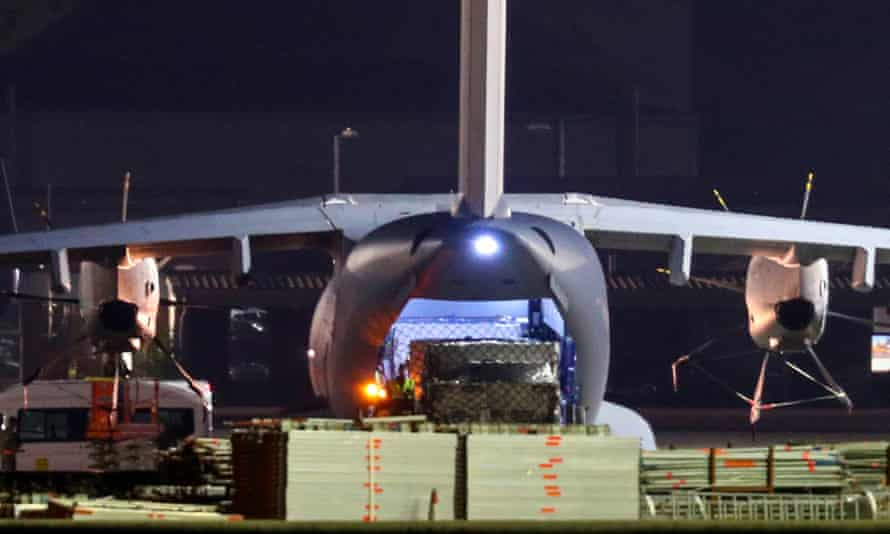 An RAF Atlas, believed to be carrying a cargo of PPE is unloaded at Brize Norton