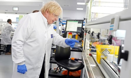 Boris Johnson at a coronavirus testing 'megalab' in Milton Keynes