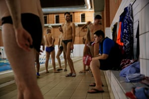 Feb 2016: Gabriel waits to get into the water with members of the Halegatos, an LGBT swimming club in Madrid