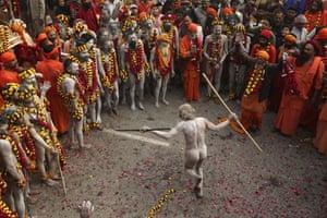 A Naga Sadhu, or a naked Hindu holy man