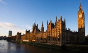 Big Ben, Houses of Parliament, River Thames at sunrise Westminster London.