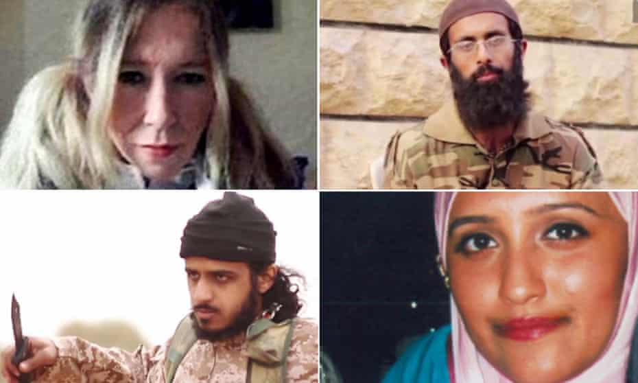 The four British members of Isis who are facing UN sanctions (clockwise from top left): Sally-Anne Jones, Omar Hussain, Aqsa Mahmood and Nasser Muthana