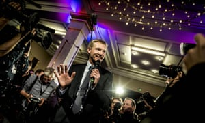 Danish People's Party leader Kristian Thulesen Dahl reacts to the election results in Copenhagen, Thursday.