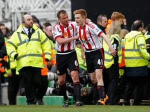 Watmore celebrates with man of the match Lee Cattermole.