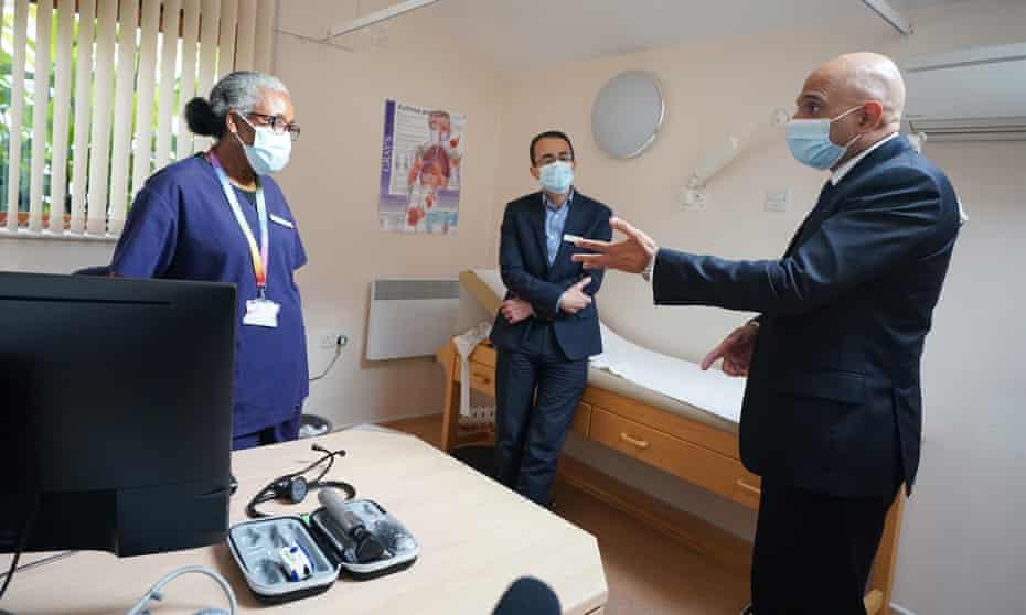 Sajid Javid, the health secretary, visiting Vale Medical Centre, London, this Thursday