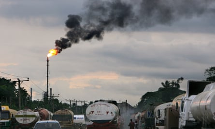 Tankers wait at a refinery near Port Harcourt.