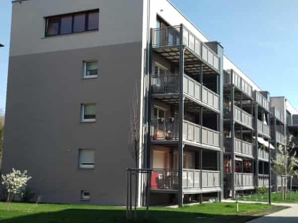 The Robinsons' apartment block in Proviantbachviertel, Augsburg.